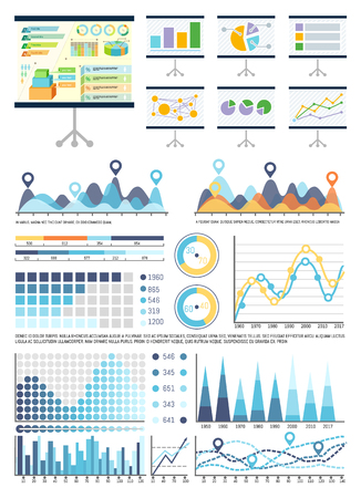 Whiteboard with infocharts and infographics data vector. Graphic representation of information, business conceptualisation. Flowcharts and pie diagram