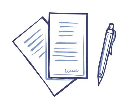 Scrittura di documenti cartacei e penna firma isolata