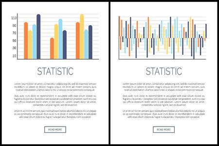 Pagine Web statistiche e campione di testo, vettore di presentazione dei dati visivi. Infografiche e diagrammi di flusso, schemi con tabelle di confronto e scale numeriche