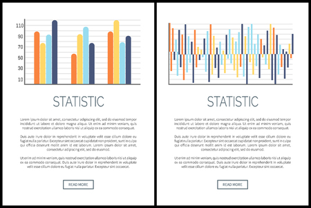 Statistic webpages and text sample, visual data presentation vector. Infographics and flowcharts, schemes with comparison tables and numeric scales