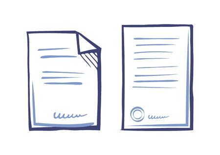 Establecer plantillas de documentación comercial, aplicación web Ilustración de vector