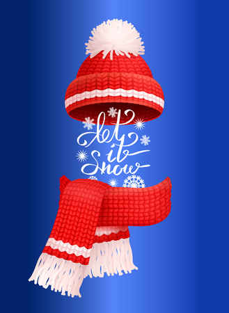 Let it snow lettering, red knitted scarf and hat with pom-pom vector isolated on blue. Winter handmade warm neckerchief and headwear accessory, wintertime cloth Иллюстрация