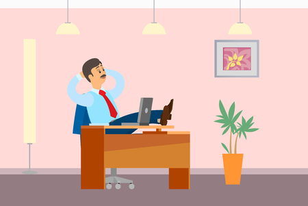 Working break, boss resting in office, put legs on table. Leader in relaxed pose. Chief worker dreaming at workplace, poster with interior design Ilustração