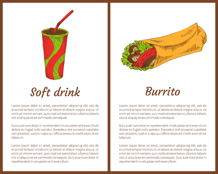 Soft drink with burrito color vector illustrations, isolated on white icons of wrapped dough with mexican snack and chill beverage with red straw