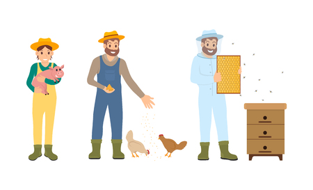 La gente de la agricultura del apicultor establece el vector. Cría de animales domésticos y alimentación de pollos. Hombre y mujer, con, lechón, en, manos, apicultor, macho, en, uniforme
