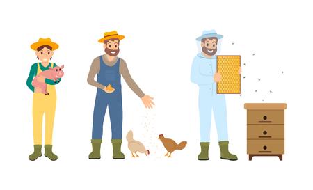 Les apiculteurs agricoles définissent le vecteur. Elevage d'animaux domestiques et alimentation des poulets. Homme et femme avec porcelet sur les mains, homme apiculteur en uniforme