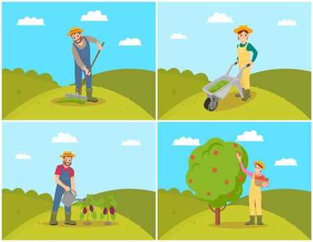 Farmer with compost trolley, male with rake on soil. Watering man with can reservoir and water for plants. Woman gathering fruit from tree vector