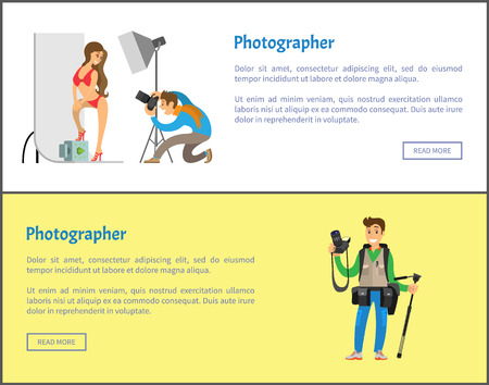 Photographer making photo session of girl in bikini swimwear and professional journalist with tripod and special camera gear equipment vector web posters