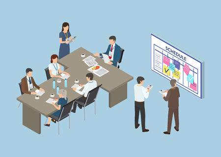 Conference, business seminar of partners team vector. Table with working hours, schedule timetable with sticky memo notes and stickers with task info Foto de archivo - 126128587