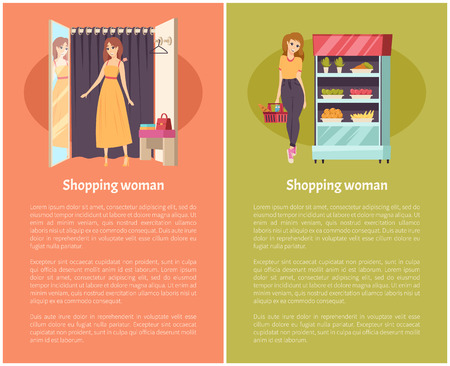 Shopping women in grocery store poster with text sample set vector. Changing room with curtain and mirror, vegetables and fruits products in fridge Reklamní fotografie - 126096645