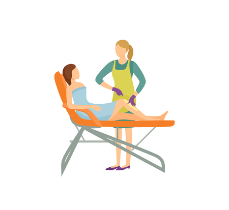 Depilation procedure in beauty salon cartoon isolated vector banner. Specialist in uniform and rubber gloves remove hair from client legs with wax