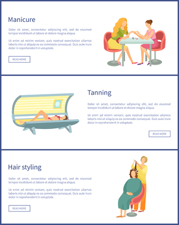 Manicure and tanning process in solarium for tan gaining, posters set text sample vector. hair styling by stylist, making wavy curls to woman client