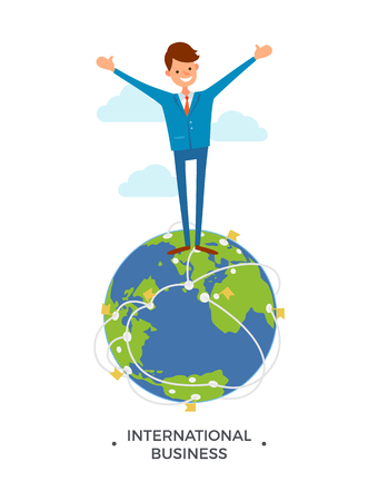International business worldwide communication and networking with partners around world. Chief executive happy standing on globe vector. Smiling boss Illustration