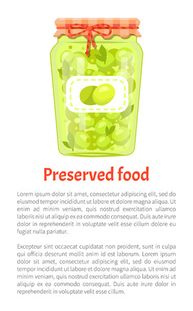 Preserved food poster olives in glass jar vector with text sample. Traditional mediterranean cuisine pickled marinated veggies, homemade canned snack