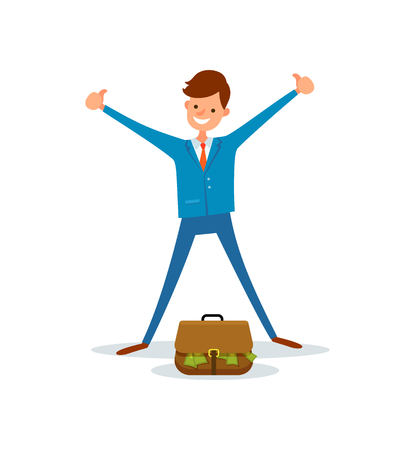 Cheerful worker get bag full of money. Manager stands near briefcase with green dollar banknotes , showing thumb up gestures, cartoon style character