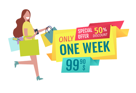 Only one week offer poster with running smiling woman holding purse and bag. Good clearance and female client doing shopping with pleasure vector