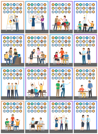 Bitcoin currencies set and people, business financial start up vector. Set of isolated icons, monero and bitshare, bitcoindark and ripple, ethereum and dash Stock Vector - 126096668