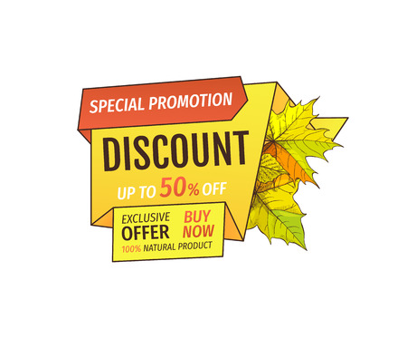 Special promotion discount on Thanksgiving day, exclusive offer buy now natural product label with maple leaves. Vector autumn sale label yellow foliage