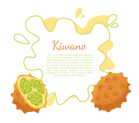 Kiwano exotic juicy fruit vector poster frame and text. Cucumis metuliferus, African horned cucumber or jelly melon, hedged gourd, melano. Tropical edible food