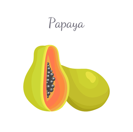 Papaya Exotic Fruit Vector Isolated. Papaw Pawpaw