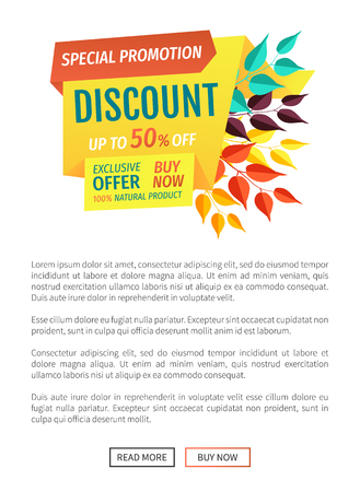 Exclusive offer natural product poster with text sample and banner. Decoration with autumn leaves and colorful inscription. Discount sellout vector