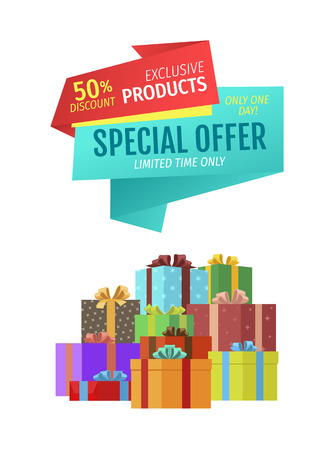Special offers quality premium natural products set. Pile of gifts with wrapping paper and bows made of ribbons. Super sales and discounts vector