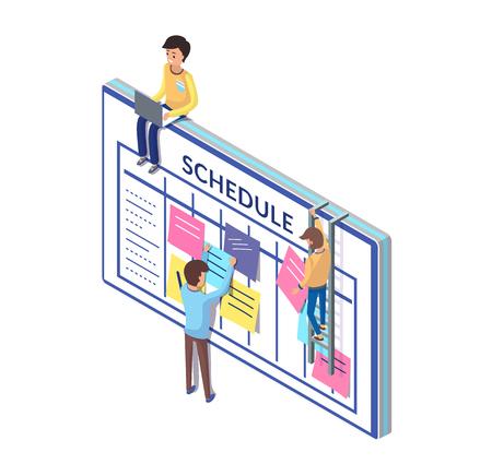 Tablero de programación y personas que trabajan en su actualización