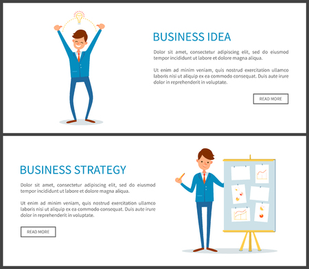 Business idea and strategy, businessman with board and information vector. Web pages text sample, people working with innovative thoughts and plans