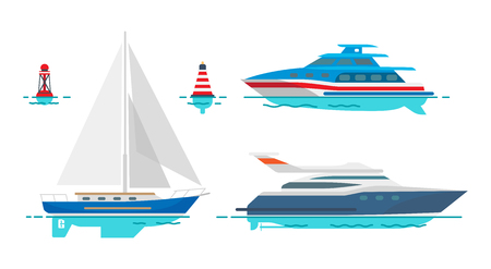 Modern motor yacht, white sailboat and small striped buoys isolated vector illustrations set on white background. Luxury vessels out in sea. Illustration