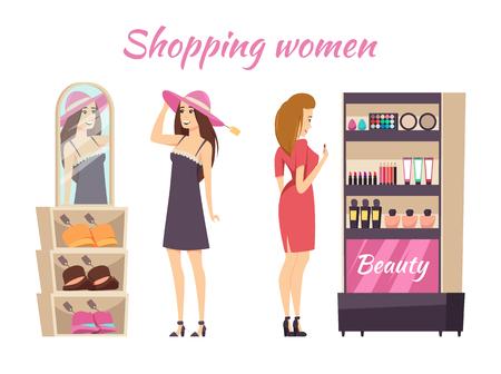 Shopping Women Wearing Hats Makeup Stall Vector