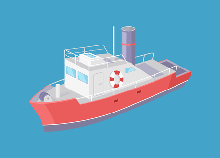 Steamboat marine transport vessel sailing in sea or ocean isolated on blue. Transportation sailboat with lifebuoy, speedboat floating vector icon