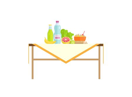 Healthy food with water drink on table isolated. Banana and grapefruit, bowl of mushroom porridge, salad leaves cartoon vector illustration isolated. Banco de Imagens - 115435138