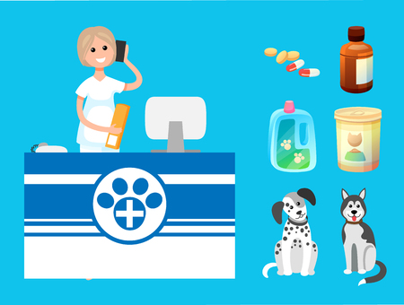 Veterinary clinic reception woman with cell phone vector. Isolated icons of bottles with pills, domestic animals medications. Dogs of different breeds