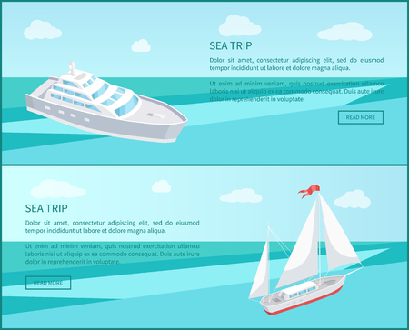 Sea trip web poster passenger liner marine traveling vessel vector. Modern yacht sailing in deep blue waters, steamship cruise nautical craft, sailboat Illustration