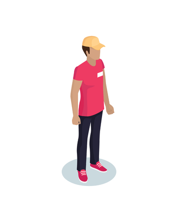 Delivery man wearing red uniform with yellow hat. Deliveryman taking ordered items for clients. Person with name badge on t-shirt isolated on vector