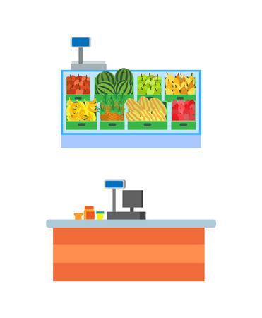 Supermarket empty seller counters and desks of cashier vector. Shelves with fruits in boxes, watermelon and pineapples, melons and pears showcase Illustration