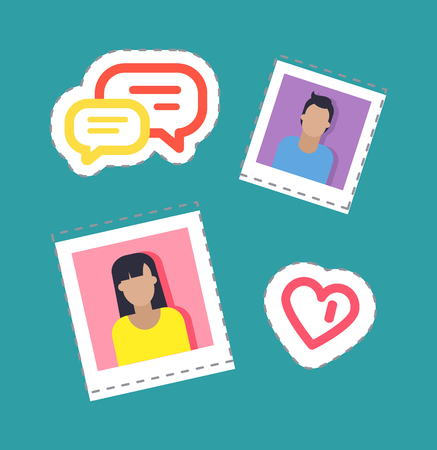 Bloggers male and female stickers set isolated patches vector. Chatting boxes and heart shape, man and woman people on photo. Bubbles for text content