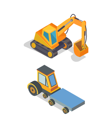 Construction Machines Excavator and Transport
