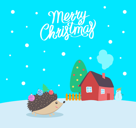 Merry Christmas greeting poster with text and urchin vector. House with decorated evergreen pine tree and fence. Hedgehog with decorative ball toys Imagens - 126096709