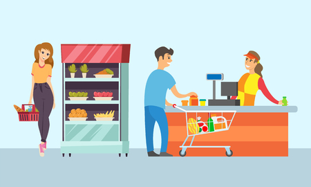 Supermarket store cashier and customers buying food vector. Lady by refrigerator with carrot and apples, holding basket with bread. Food shopping Illustration
