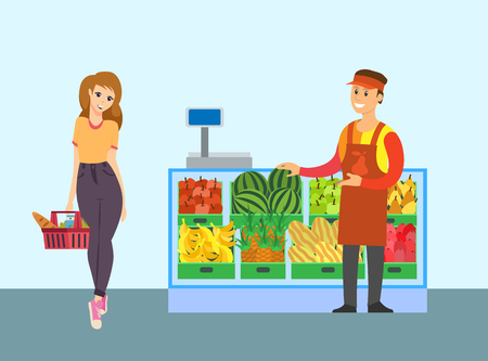 Supermarket seller of fruit store and client with basket vector. Containers with watermelon, bananas, pineapples and apples. Man selling organic food Illustration