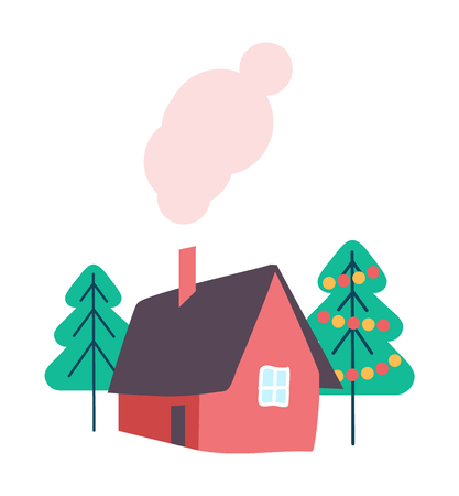 House and Winter Trees Decorated Isolated Vector