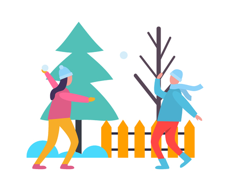 Children Kids Playing Snowballs at Wintertime