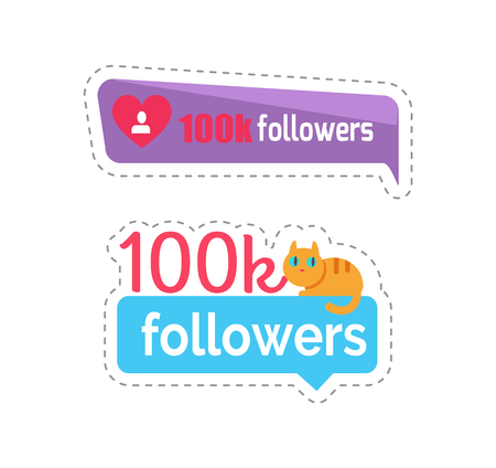 Followers isolated sticker with kitten sitting on text set of patches vector. Following numbers and users, social network banners with text and info