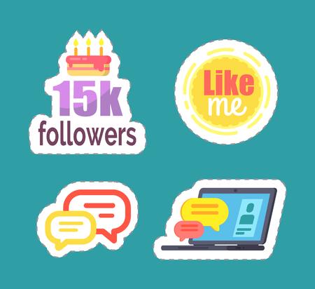 Like Me and 15k Followers Cake Icons Set Vector