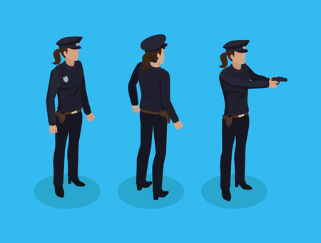 Policewoman cop icons set. Woman wearing protective vest hat and uniform. Police officer with badge and gun shooting at criminals isolated on vector