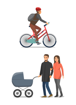 Bike cycling male and family people set vector. Happy man and woman with pram and newborn child in it. Cyclist riding bicycle and couple with kid