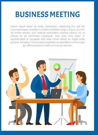 Business meeting, people sitting at table and discussing reports with graphs and charts. Work in team concept, boss and executive workers at workplace