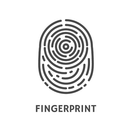Fingerprint authentication verify poster with text vector. Thumbprint mark and dactylogram, authorization of unique pattern print on human finger. Foto de archivo - 126096726