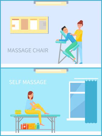 Massage Chair and Self Massaging Woman Set Vector